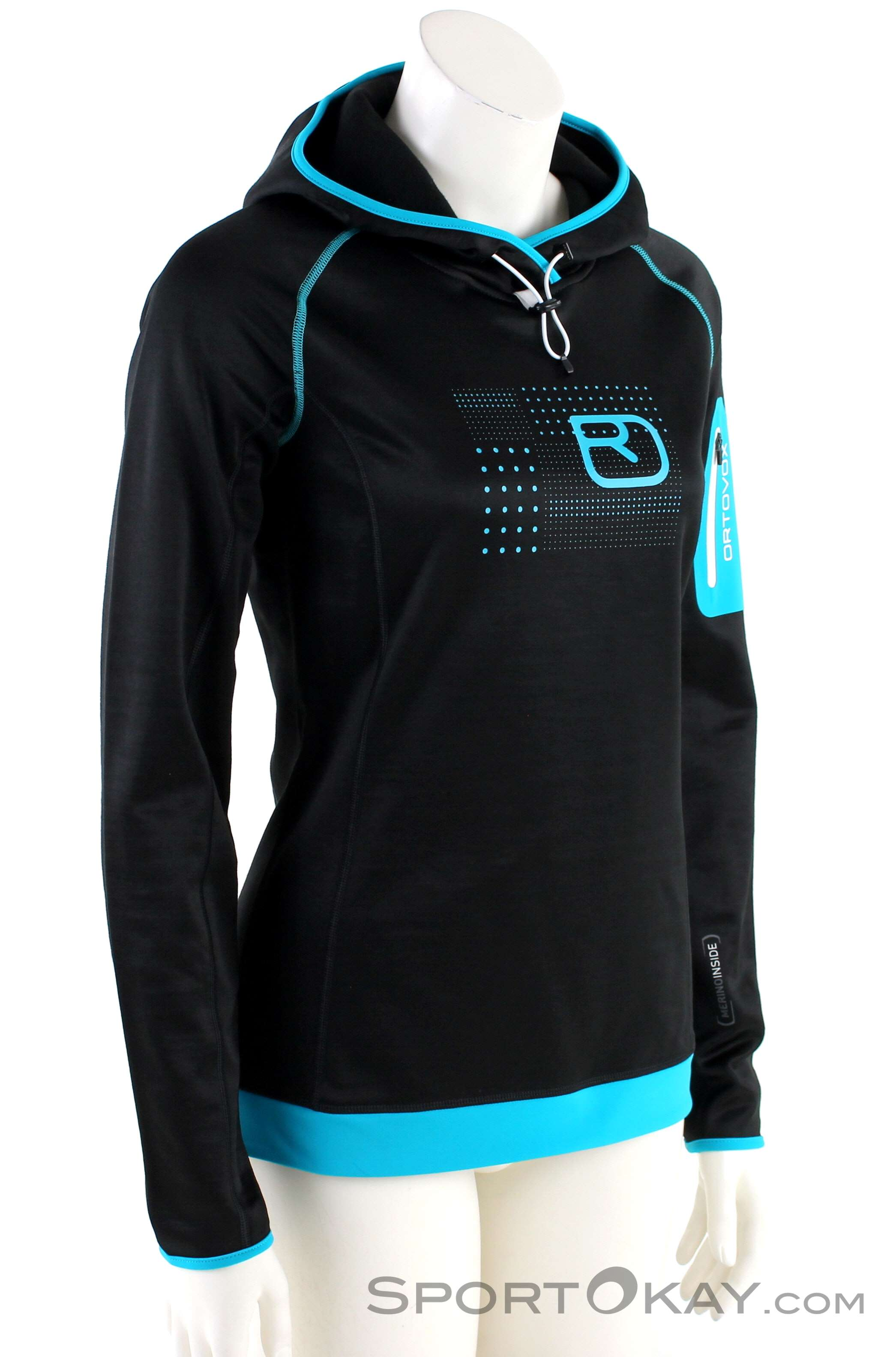 Ortovox Fleece Logo Hoody Damen Tourensweater-Schwarz-S