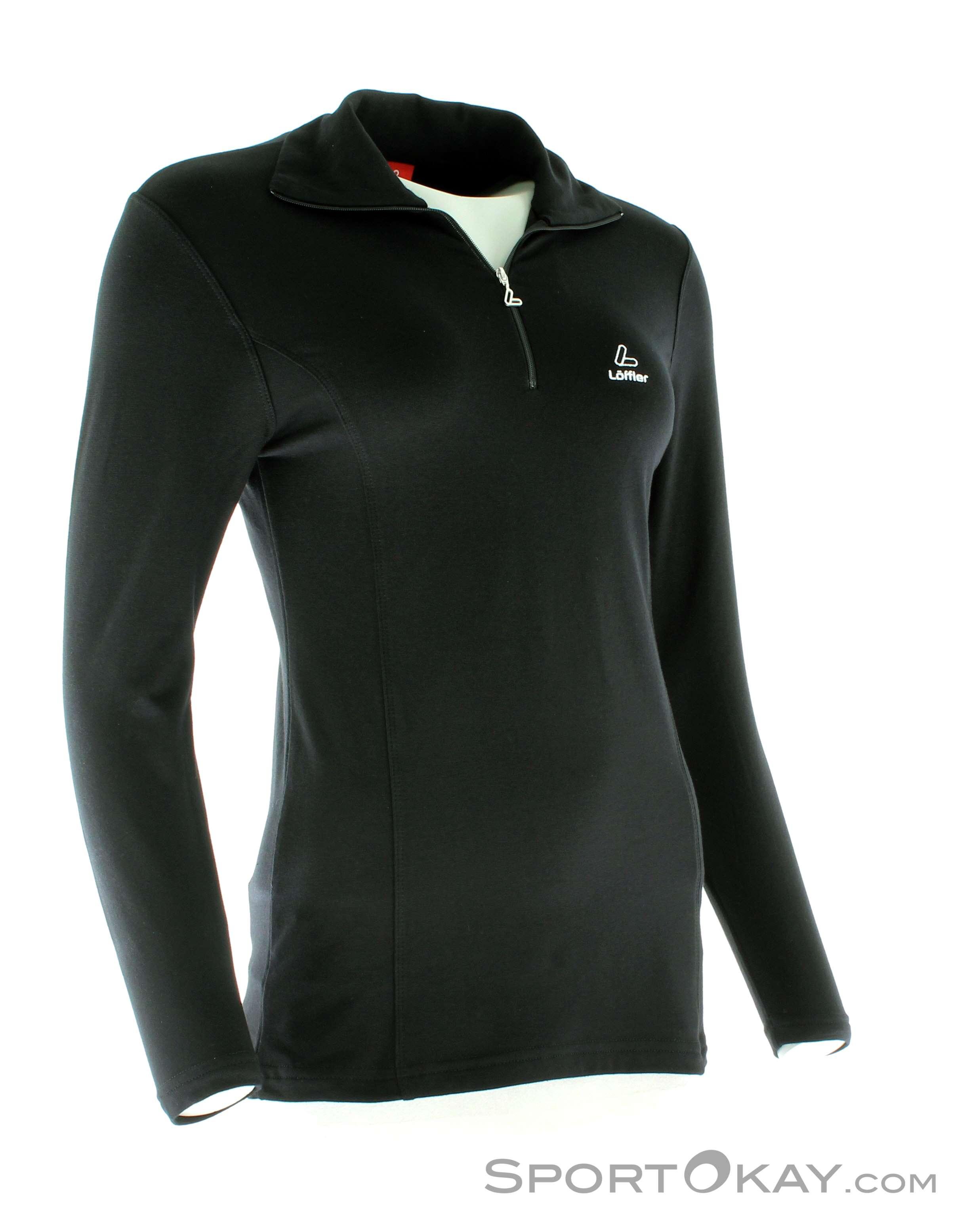 Löffler Transtex Zip-Rolli Basic Damen Laufsweater-Schwarz-40